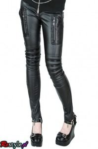 PUNK RAVE K-103 leather hipsters skinny | CLOTHING \ Trousers | Restyle.pl
