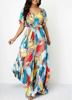 Rosewe Women Dress Multi Color V Neck Printed Maxi Butterfly Sleeve Butterfly Sleeve V Back Printed Dress Dresses Elegant, Sexy Dresses, Dresses For Sale, Dresses Online, Casual Dresses, Tailored Dresses, Trendy Dresses, Fall Dresses, Party Dress Sale