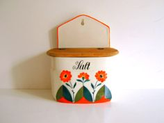 Vintage Salt Box Made in Germany Orange by RollingHillsVintage | I want a vintage salt box with a lid. Something with flowers or simple like this, just northern nautical/windmill themed.