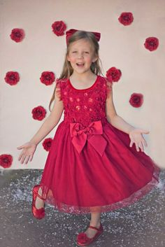31531ed4c519c Holiday Sparkle Dress Now in Stock at Cassie's Closet Red Hair Bow, Hair  Bows,