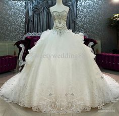 Wholesale New Arrival Bling Bling Crystals luxury A-line Sweetheart cathedral train Ball Gown Wedding Dresses, Free shipping, $347.2-369.6/Piece | DHgate#s6-10-1
