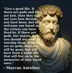 """Live a good life. If there are gods and they are just, then they will not care how devout you have been, but will welcome you based on the virtues you have lived by. If there are gods, but unjust, then you should not want to worship them. If there are no gods, then you will be gone, but will have lived a noble life that will live on in the memories of your loved ones."" ~Marcus Aurelius"