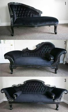 Victorian Couches Check us out on Fb- Unique Intuitions alles für Ihren Stil - www.de Need home decorating ideas? Darken up your home and get wicked ideas with the most awesome Gothic, Steampunk, Horror, and Victorian Furniture around. Victorian Couch, Victorian Decor, Victorian Era, Deco Baroque, Modern Baroque, Modern Art, Gothic Bedroom, Goth Home Decor, Gypsy Decor
