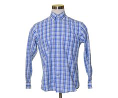 NAUTICA Blue White Tartan Plaid WRINKLE RESISTANT Button Dress Shirt 44 M #Nautica #ButtonFront