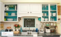 Open Kitchen Cabinets With Aqua, White, Lime Green, and Silver Accents ... www.mom4real.com