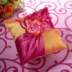 Hot Pink & Orange Ring Bearer Pillow - Orange satin pillow decorated with a hot pink and a matching fabric flower.