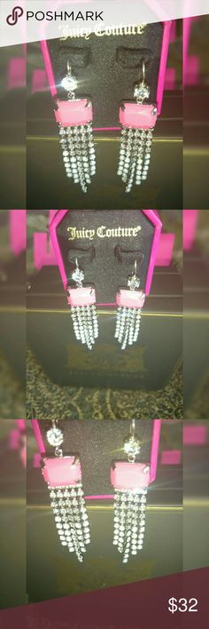"🆕 Juicy Bling! 💎 Flashy Pink & Ice Earrings by Juicy Couture  Nice Condition  Clean and Sanitised  Comes on Juicy Earring ""Pillow""  As shown attached to in photos  You know you deserve the best glamour girl  And you know the best is Juicy Couture!  Visit My Closet for More Juicy!  💞 Happy to Discuss Reasonable Offers 💞 Juicy Couture Jewelry Earrings"