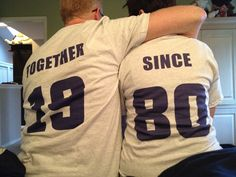 Anniversary Wedding date Couples+TOGETHER+SINCE+custom+tshirt+set+of+2+by+SilkscreenExpress,+$40.00