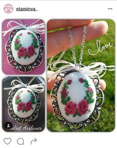 Cross stitch necklace and earr Wool Embroidery, Silk Ribbon Embroidery, Embroidery Jewelry, Cross Stitch Embroidery, Cross Stitch Patterns, Embroidery Designs, Seed Bead Art, Stitch Cartoon, Cross Stitch Bookmarks