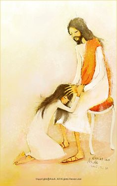"""""""Vengo a rendirme a tus pies, agradecido, Señor. Me perdonaste, cambiaste mi corazón. Tu vida diste por mí, en una muerte tan cruel; porque me amaste, siendo yo un vil pecador. Quiero postrarme ante Ti, Jesús y, en silencio, reconocer que tu amor por mí no merezco. Mi Jesús, mi amado, quiero postrarme ante Ti para adorar. Mi Jesús, mi Amado, quiero regar con mis lágrimas Tus pies; quiero besarlos y así, permanecer"""" Ilustrator: Christian Asuh"""