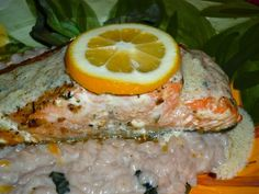 Meyer Lemon-Goat Cheese Risotto & Seared Salmon with Meyer Lemon Cream Sauce