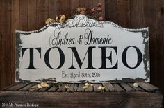 CUSTOM NAME SIGN, Personalized Name Sign, Vintage Wedding Sign, Vintage Name Sign, Established Sign, Roses, 32 X 16
