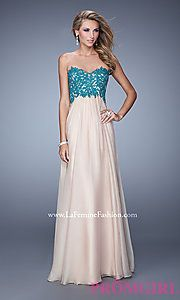 Buy Long Strapless Two Tone Gown by La Femme at PromGirl