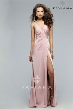 Faille satin v-neck evening dress with draped front and skirt with high slit