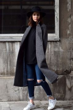 COAT: COS JUMPER: COS JEANS: H&M SHOES: ADIDAS STAN SMITH  HAT: WHISTLES