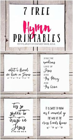 I have another collection of hymn printables to share with you. This time I've made 7 Free Hymn Printables for your printing pleasure. Printable Quotes, Printable Wall Art, Printable Stencils, Hymn Art, Sunday School Rooms, Diy Wall Decor, Verses, Scriptures, Free Printables