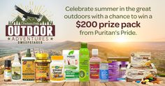 Daily-8/11. I just entered the Puritan's Pride 'Outdoor Adventures' Sweepstakes for a chance to win a prize pack worth $200.  You should too!