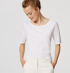 In the softest cotton, this ballet neck tee is always ready for a twirl. Ballet neck. Short sleeves.