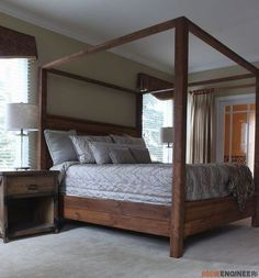 How can a king size wooden canopy bed frame the look of your room? Diy King Bed, Furniture, Bedroom Design, Bedroom Diy, King Beds, King Size Canopy Bed, Bed, Bed Frame Plans, Bed Plans