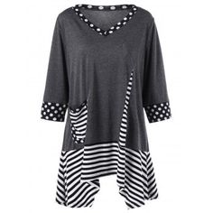 SHARE & Get it FREE | Plus Size Striped Asymmetrical T-Shirt with PocketFor Fashion Lovers only:80,000+ Items·FREE SHIPPING Join Dresslily: Get YOUR $50 NOW!