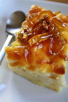 Fresh, citrus flavor in a light custard mixed with layers of Greek phyllo--a simple, quick and sweet dessert (Greek Easter Baking) Greek Sweets, Greek Desserts, Greek Recipes, Just Desserts, Delicious Desserts, Greek Cookies, Greek Pastries, Cake Recipes, Dessert Recipes