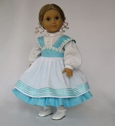 American Girl Doll Clothes Aqua Blue and White Mid-1800's Dress. $75.00, via Etsy.