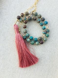 turquoise jasper beaded gemstone tassel necklace by BlushingGemDesigns on Etsy https://www.etsy.com/listing/478900055/turquoise-jasper-beaded-gemstone-tassel