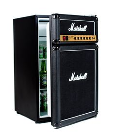 Marshall Amp Fridge that features a mini freezer compartment and authentic Marshall Amp parts - looks just like a real guitar amp. http://www.walletburn.com/Marshall-Amp-Fridge_670.html #giftideas #guitar #fridges