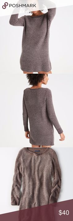 Chenille Sweater Dress Who says you can't be comfy and look fabulous at the same time?  An amazingly soft and cozy chenille sweater dress in a gray-brown color.  Perfect neutral for your wardrobe!  -Soft chenille -Ribbed -Wide crew neck -Long sleeves -100% Polyester American Eagle Outfitters Dresses Long Sleeve