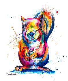 Colorful Squirrel Watercolor Painting - print of my original Squirrel art Squirrel Tattoo, Squirrel Art, Watercolor Animals, Watercolor Print, Watercolor Paintings, Watercolors, Canvas Art Prints, Painting Prints, Colorful Animals