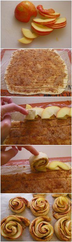 Roses de pommes : une pâte feuilletée tout prête, de la cannelle, de la cassonade et des fines lamelles de pommes. On roule, on passe au four et on se régale !