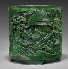 CHINESE BRUSH POTS | Important Chinese jade brush pot | Art - Asian Ceramics & Art