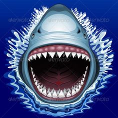 Buy Shark Jaws Attack by Bluedarkat on GraphicRiver. Shark attack with his big Jaws open and showing his scary line of sharp, cutting teeth like lots of white blades. Shark Mouth, Shark Jaws, Shark Logo, Sharks, Framed Art Prints, Canvas Prints, Image Chat, Angler Fish, Student Nurse