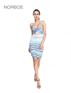 Norboe New Arrival Stretch Printing Blue Bandage Dress cross Chest Fashion Latest Dress Designs for Ladies