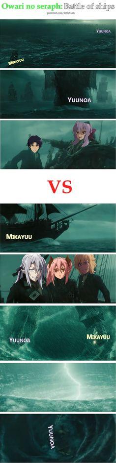#Owari no seraph #Seraph of the end funny Yuunoa vs Mikayuu (Pinterest: littleStar0)