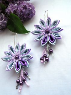 Kanzashi Earrings / Fabric Jewellery / lilac purple / by BestMaria, $18.00