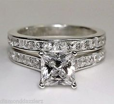 White Gold Sterling Silver Princess cut Diamond Engagement Ring Wedding Set sz 7