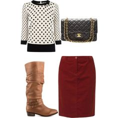 A fashion look from November 2014 featuring Oasis sweaters, Gerry Weber Edition skirts and Steve Madden boots. Browse and shop related looks.
