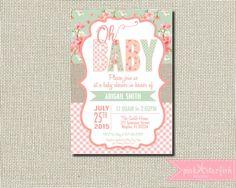 Bebé ducha invitación arpillera bebé ducha por PinkStarfishDesigns