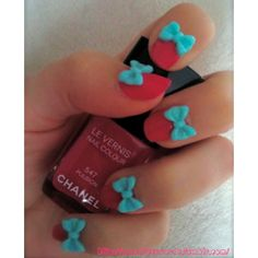 Red nails with baby blue bows - Dehily Love Nails, Red Nails, Pretty Nails, Hair And Nails, Candy Colors, Nail Colors, Coffin Nails, Acrylic Nails, Funky Nail Art