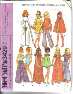 "free barbie doll clothes patterns | ... Pattern 11 1 2"" Fashion Doll Teen Wardrobe Clothes Fit Barbie | eBay"