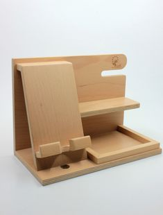 Docking station wooden docking station birthday gift for men unique holiday gift anniversary gift gifts for men husband dad groomsmen Wooden Gifts, Wooden Toys, Wood Projects, Woodworking Projects, Woodworking Chisels, Woodworking Patterns, Woodworking Bench, Wooden Phone Holder, Into The Woods