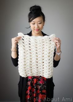 Shell Stitch Crochet Cowl Start with 60 - 72 chain stitches (divisible by 4) in what ever yarn you want. Use hook size indicated on package, maybe bigger if needed. gage by how you want it to fit (look about what size it is on her). Nice simple pattern - totally customizable.