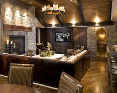 Like the t.v. On one wall and fireplace on another with sectional sofa angled to both. Also, bar where ours would go