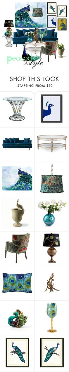 """peacock home style"" by mia-christine ❤ liked on Polyvore featuring interior, interiors, interior design, home, home decor, interior decorating, Pier 1 Imports, Americanflat, Gus* Modern and John-Richard"