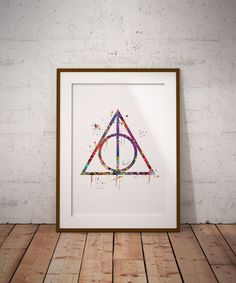 Harry Potter Deathly Hollows Watercolor Art Print Wall Decor