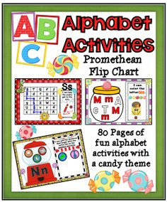 This flip chart is chock-full of fun alphabet, interactive pages that can be used to help your kiddos practice learning and identifying their ABCs! It also will help students recognize pictures that begin with each letter! #tpt#prometheanboar#abc#alphabet#teacherspayteachers