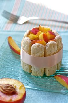 Orchard-Fresh Nectarine Mousse and Charlotte - fresh Tea Party Desserts, Party Sweets, Just Desserts, Sweet Recipes, Cake Recipes, Dessert Recipes, Lady Finger Cake Recipe, Dessert Blog, Cupcake Cakes