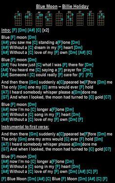 Easy Ukulele Songs, Billie Holiday, Guitar Chords, Blue Moon, Music Stuff, Piano, Christ, Singing, Poetry