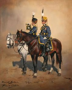 Cazadores de Lusitania, Colonel & Trumpeter, 1909 by Augusto Ferrer-Dalmau Military Art, Military Uniforms, Army History, Imperial Army, World War One, Napoleonic Wars, American Civil War, Michigan, Soldiers